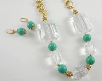 Chunky Clear Bead and Turquoise Necklace & Earrings Set