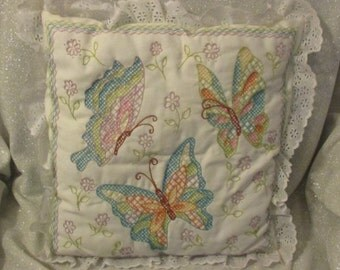 """Hand Embroidered Butterfly Pillow – 14"""""""