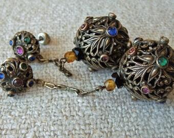 Antique Austro Hungarian Czech Ornate Jeweled Dangle Earrings Threaded Stud Vintage Bohemian Milgrain Detailing