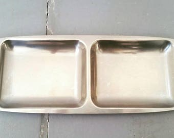 Vintage Mid Century Danish tray. Stainless steel mid century serving tray. Danish mid century stainless and walnut tray.