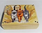 Cat box, recycled  wood storage,fabric design,  decorative storage, music background, cotton fabric design, beaded