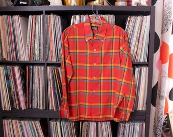 60s 70s vintage boys plaid shirt . loud vintage Towncraft shirt, tag size 18 SEE MEASUREMENTS . red plaid long sleeve shirt