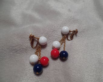 1950's Dangle Earrings with Patriotic Colors Signed Richelieu