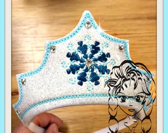 ICe SiSTER SNoWFLaKE PRiNCESS CRoWN ~ In The Hoop Headband ~ Downloadable DiGiTaL Machine Embroidery Design by Carrie