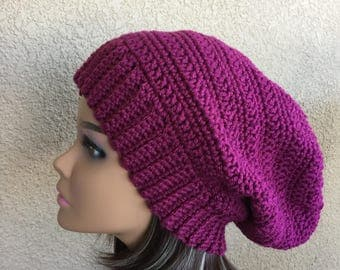 Boho Extra Slouchy Hat, Free Shipping, Mauve or Berry Slouchy Beanie, Hipster Raspberry Slouch Hat,  teen or women's slouch hat