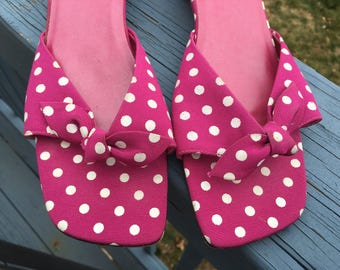 CUTE Pink & White POLKA DOT Slides, 1990's Vintage Heels, Rockabilly Shoes size 10