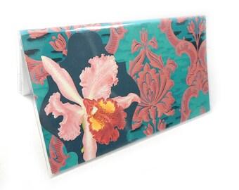 2017 - 2018  mini Planner - Orchid Damask - elegant floral pocket planner - two year planner - 2 year monthly planner horizontal
