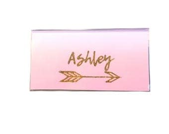 Personalized checkbook cover - Blush pink ombré - name and arrow - gold and pink - check book holder - side or top tear