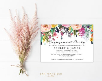 Engagement Party Invitation INSTANT DOWNLOAD |  Editable Engagement Party Invite Template | floral | Ashley Collection | Printable PDF