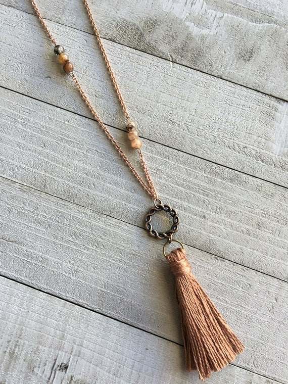 """Tassel Necklace Boho Chic Statement Necklace Long Layering Tassel Necklace 20"""" Copper Chain with Rose Gold Cotton Tassel and Quartz Beads -"""