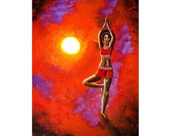Red Tara Yoga Goddess Fine Art Print - Meditation Spiritual Art Print Ethnic Woman Tree Pose Empowerment Giclee Canvas Home Decor Wall Art