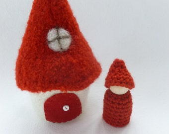 Mini Felted Gnome Cottage with peg doll gnome Red ready to ship
