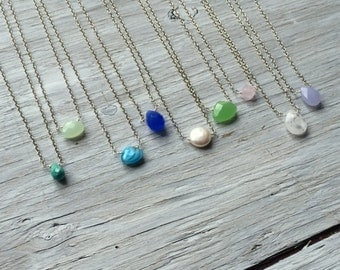 Minimal necklace, Simple stone necklace, chain necklace, delicate stone necklace, green bead necklace
