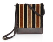 SALE - Small Crossbody Bag, Cross Body Purse, Zipper Hip Purse - Woodland Velvet Stripe in Gold, Tan and Espresso