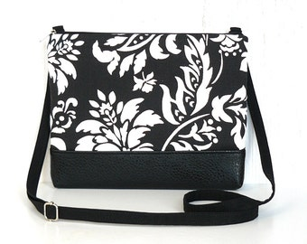 Small Crossbody Bag, Fabric Hip Purse, Zipper Cross Body Purse in Black and White Floral