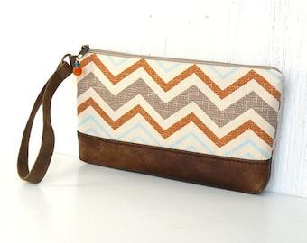 Zipper Wristlet Clutch, Wrist Pouch, Fabric Wristlet Wallet, Chevron Clutch - Mesa Zigzags in Orange, Aqua, and Brown