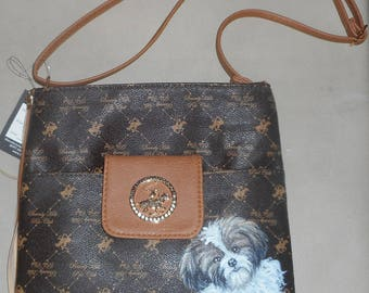 Shih Tzu Dog Hand Painted Handbag Bag Vegan Purse Designer