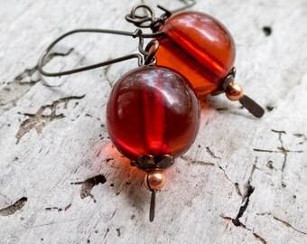 Art Deco Honey Amber Drop Earrings || Nature Lover | Vintage Honey Amber Beads | Earthy | Organic | Woodland Wedding | Earrings Under 20