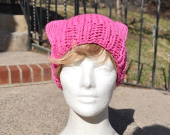 Cotton Pink Pussyhat - Pussy hat - Kitty Hat - Lighter Weight for Spring and Summer protests - Knit Hat - Mother's Day Gift