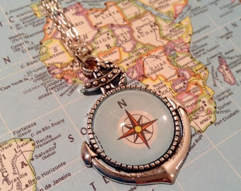 Anchor Necklace / Compass / Vintage Atlas / Wanderlust / Gift for Her / Compass Necklace / Anchor Jewelry / Traveler Gift