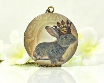 Gray Rabbit Locket King of Bunny Love - Bunny Pendant - Bunny Locket - Pet Bunny Rabbit Necklace - Rabbit Jewelry - Woodland Animal - Gift