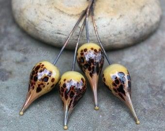 Dino - Handmade Lampwork Glass Head Pins - SRA Elasia MTO - Choose Shape and Finish