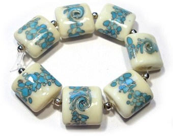 SRA Handmade Glass Lampwork Beads - Turquoise & Ivory Nuggets