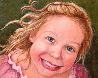 Portrait of Child, Original Drawing or Painting from Photos, Custom Portraits, Children's Portrait, Portrait Artist, Portrait Child, Drawing