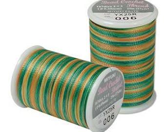 Miyuki Bead Crochet Thread, Size 8 .45mm diameter, 167dtex, 25 meters (27 yards) - #6 Green Earthtones