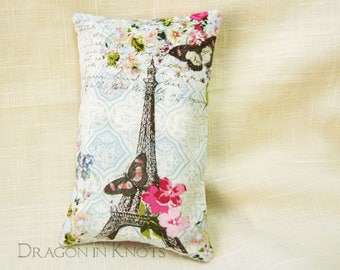 Eiffel Tower Pocket Tissue Holder - Paris France Travel Facial Tissue Case, romantic cottage chic accessory light blue and cream, pink roses