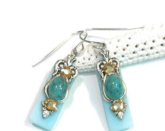 Stained Glass Earrings Turquoise Matrix and Crystal