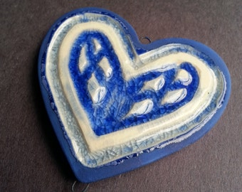 Cobalt blue Ceramic and recycled glass Heart Ornament pendant