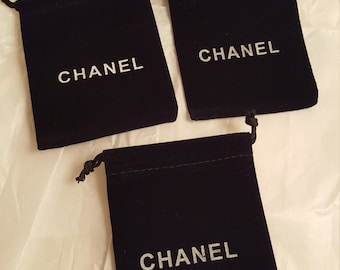 3 Chanel small black jewelry pouches pouch sleeper dust bag drawstring
