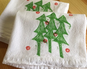 Christmas Tree Holiday Napkins - Soft Cotton Flour Sack Napkins or Hand Towels - Hand Block Printed - Set of 2 - READY TO SHIP