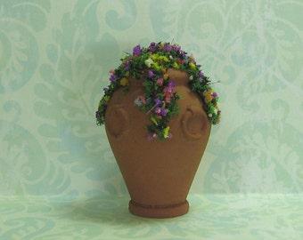 Dollhouse Miniature Terra Cotta Planter with Multi Color Flowers