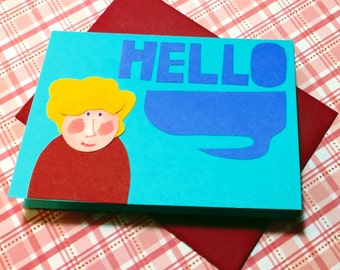Hello Gal (Blonde Curly Hair) // Cards For All Occasions