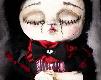 Scarlett, the heartbroken suicidal. An original mixed media art doll in paperclay by Danita Art.