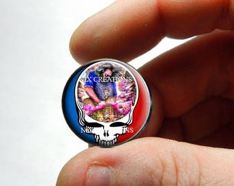 Glass Cabochon - Grateful Dead Steal Face Head Design 20 - for Jewelry and Pendant Making