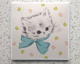 Kittens and Bows Tile Coaster