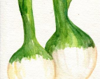 Spring Onions Original Watercolor Painting, Small Vegetable Painting, Kitchen Wall Art, 4 x 6 , kitchen decor, onion art ,kitchen art
