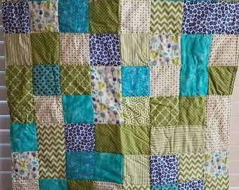 Moving Sale Whimsical Woods Baby Quilt - blue, lime green, teal, grey 302