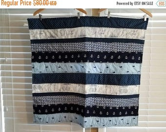 Moving Sale Seas the Day Baby Quilt - navy, white 309