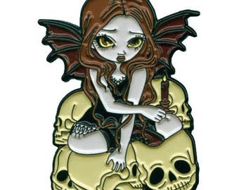 A Candle in the Dark Collectible Enamel Pin by Jasmine Becket-Griffith Art lapel pin button brooch skull fairy goth skeleton