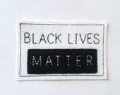 Black Lives Matter white and black iron on patch, activist,  patches for jackets,  embroidered patch, felt patch,  iron on patches,DIY