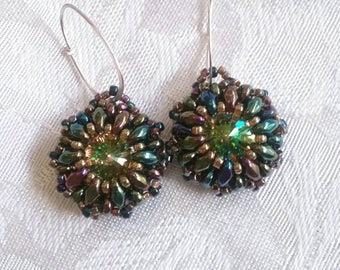 Luminous Green Iris Drops Swarovski Crystal Rivoli Earrings