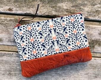 Butterflies Blue Leather Pouch, Coin Purse, Zipper Pouch, Change Wallet, Leather Wallets for Women