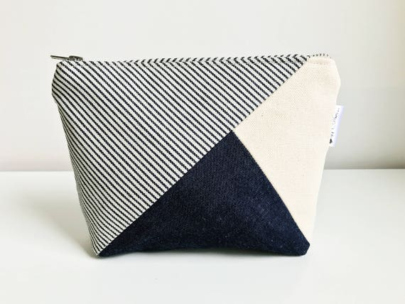 Small Cosmetic Bag, Zipper Pouch, Canvas Toiletry Bag, Blue Pouch, Travel Makeup Bag, Canvas Zippered Pouch