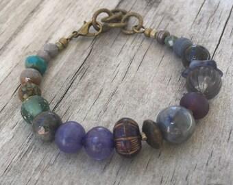 PURPLE BOHO Stack BRACELET with Vintage beads, Gemstones and Adjustable Length