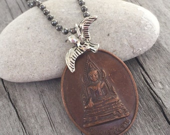 BUDDHA Protection AMULET Necklace with BIRD charm Genuine Vintage Thai Buddhist Medal