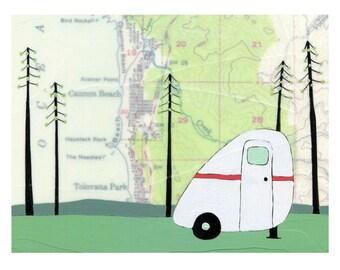 Haystack Rock Map Print // Camper Art // Travel Art // Scamp Art // Oregon Coast Art // Modern Decor // Cabin Art // Rachel Austin Art 11x14